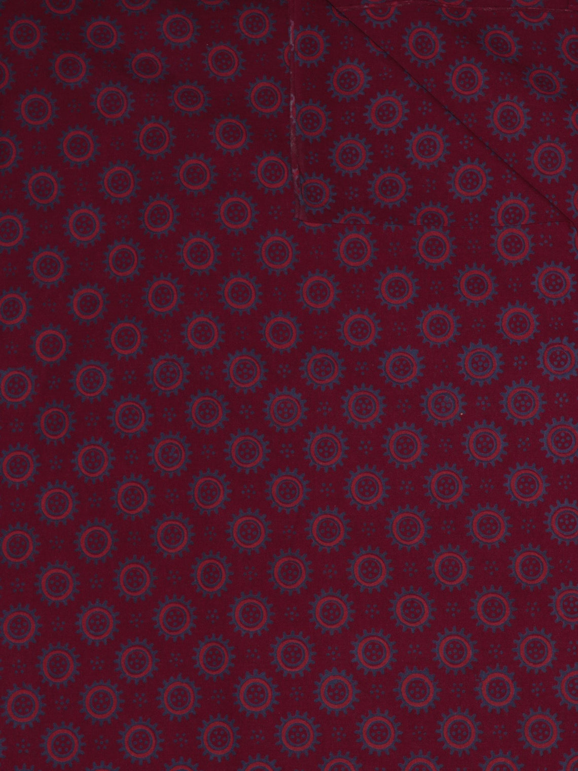 Maroon Pink Blue Ajrakh Printed Cotton Fabric Per Meter - F0916715