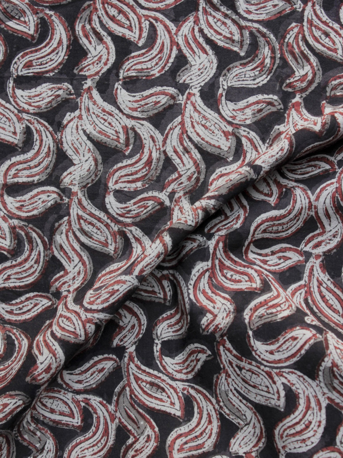 Black  Red Ivory Hand Block Printed Cotton Fabric Per Meter - F001F1155