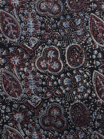 Black Ivory Maroon Blue Ajrakh Printed Cotton Fabric Per Meter - F003F1188