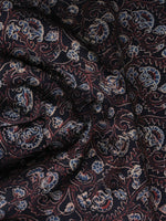 Black Maroon Blue Ajrakh Printed Cotton Fabric Per Meter - F003F1185