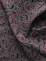 Grey Black Red Ajrakh Printed Cotton Fabric Per Meter - F003F1187