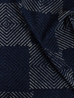 Indigo White Hand Block Printed Cotton Cambric Fabric Per Meter - F0916154