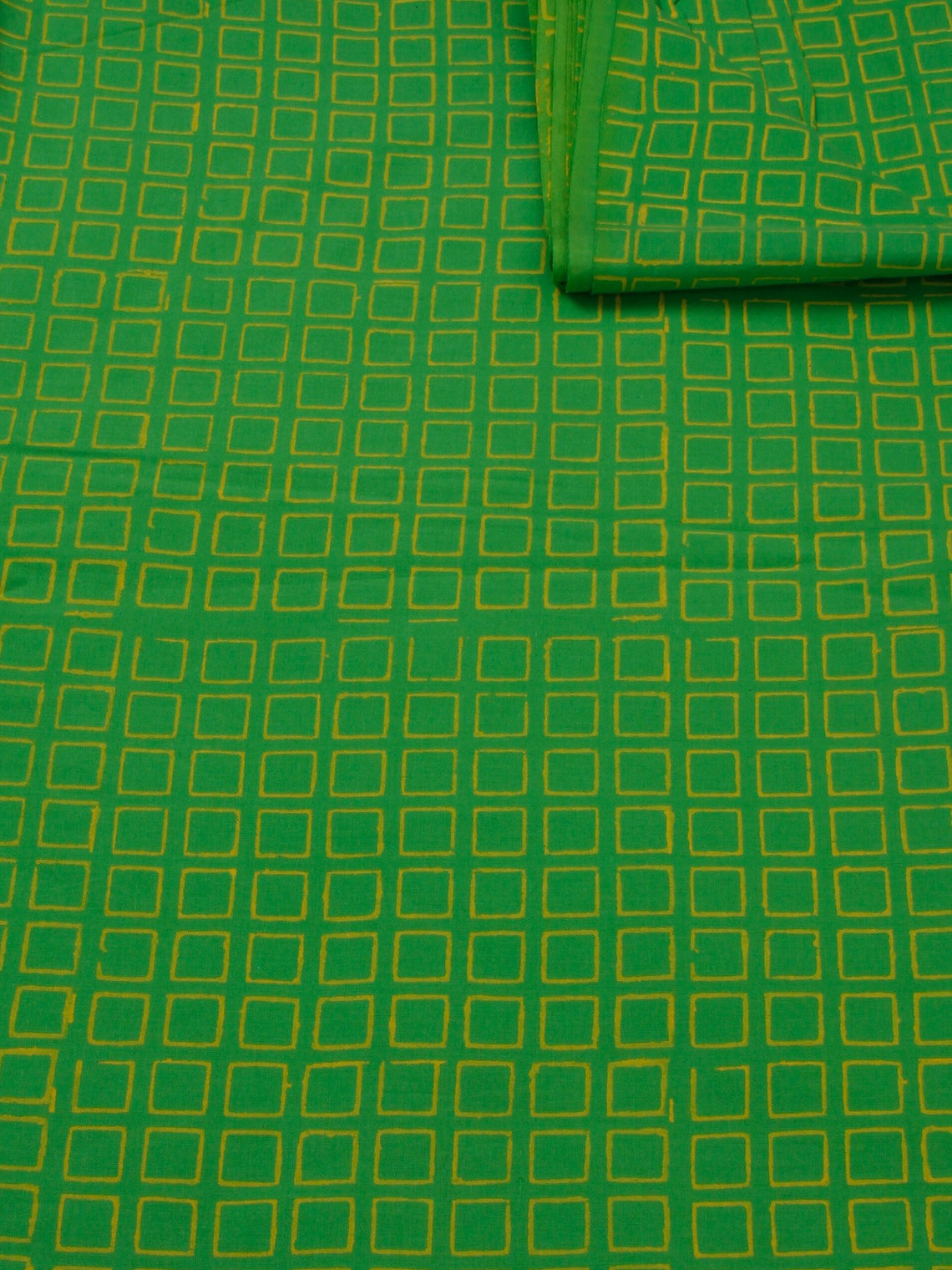 Mint Green Yellow Hand Block Printed Cotton Fabric Per Meter - F0916181