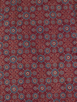 Maroon Ivory Grey Ajrakh Printed Cotton Fabric Per Meter - F0916705