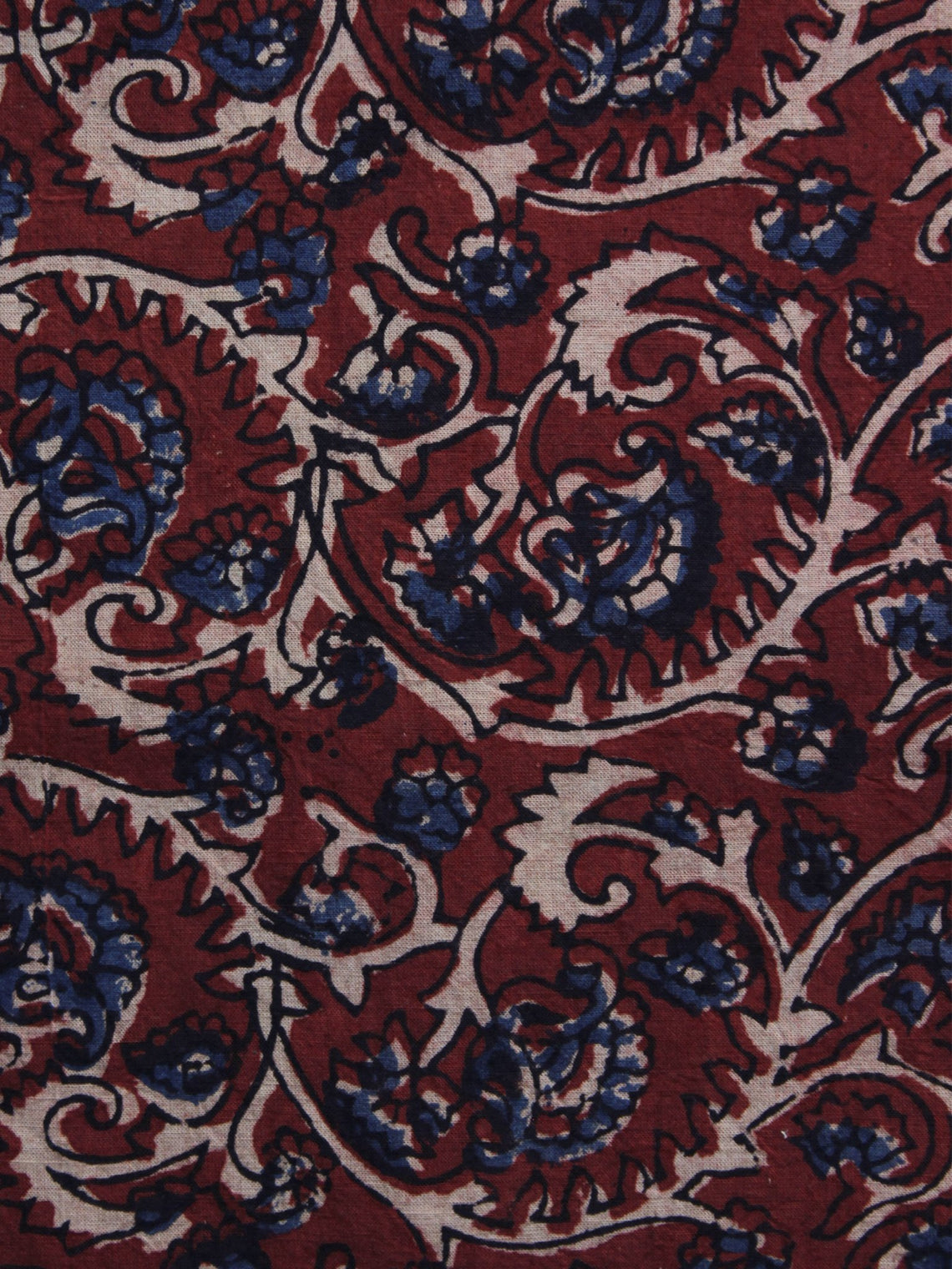 Red Blue Ivory Ajrakh Printed Cotton Fabric Per Meter - F003F1190