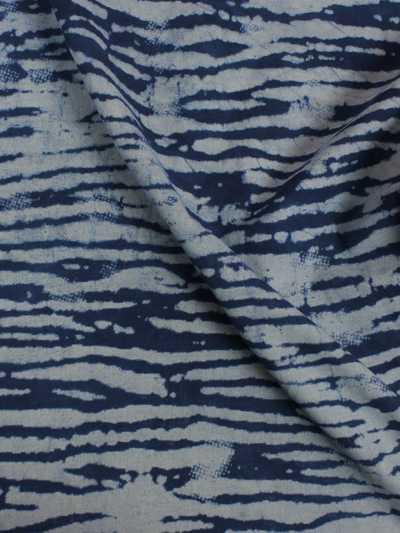 Indigo Hand Block Printed Cotton Cambric Fabric Per Meter - F0916152