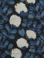 Indigo Black Ivory Hand Block Printed Cotton Fabric Per Meter - F001F1081