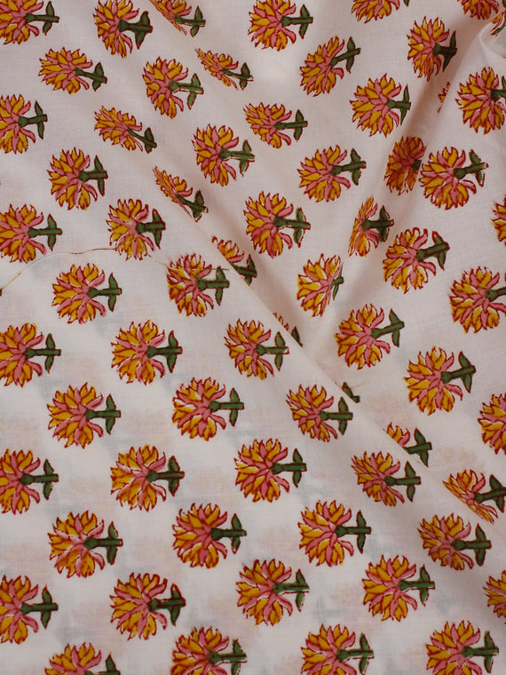 White Multi Color Hand Block Printed Cotton Cambric Fabric Per Meter - F0916136