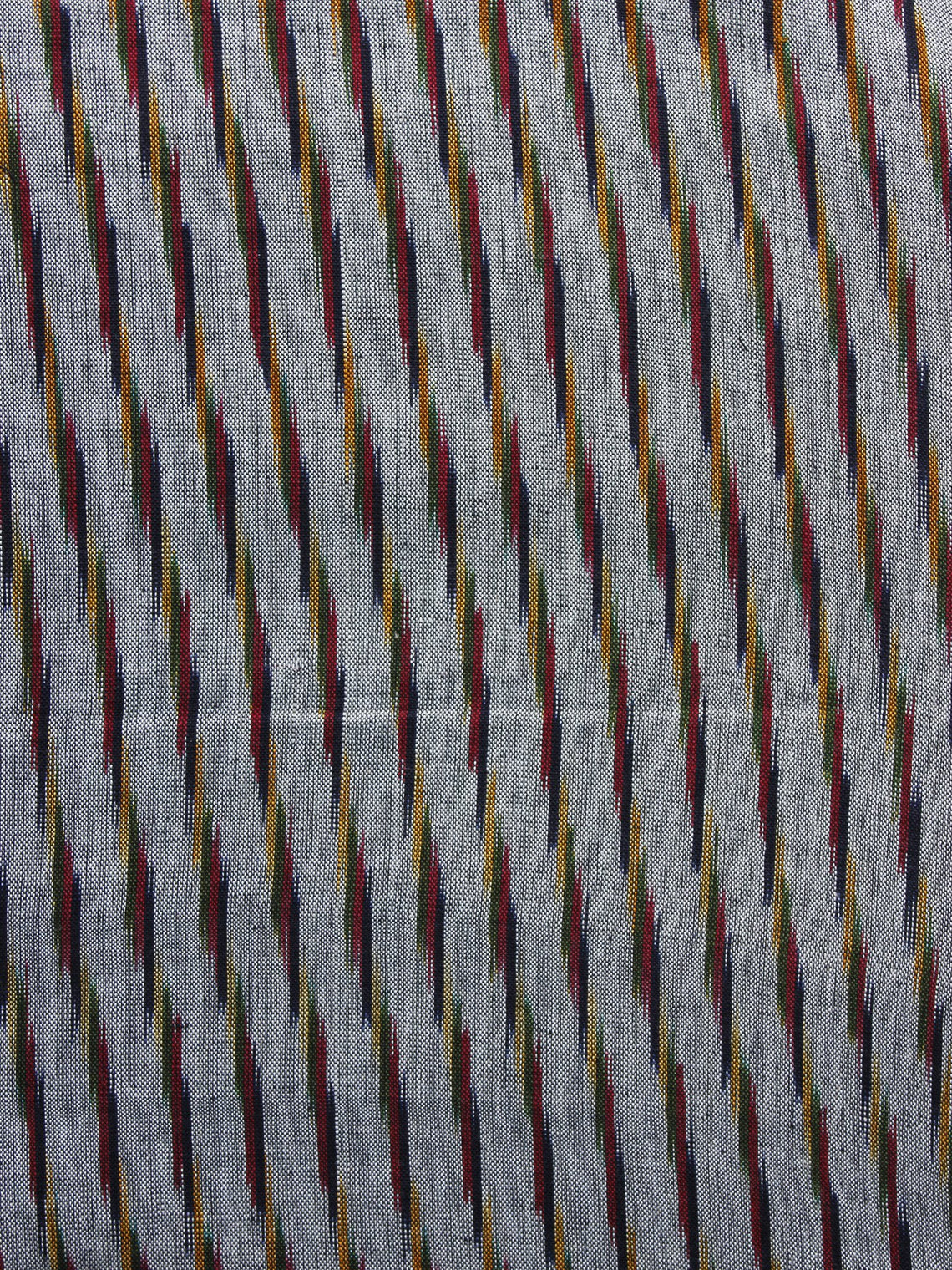 Grey Red Black  Pochampally Hand Weaved Ikat Fabric Per Meter - F003F1250