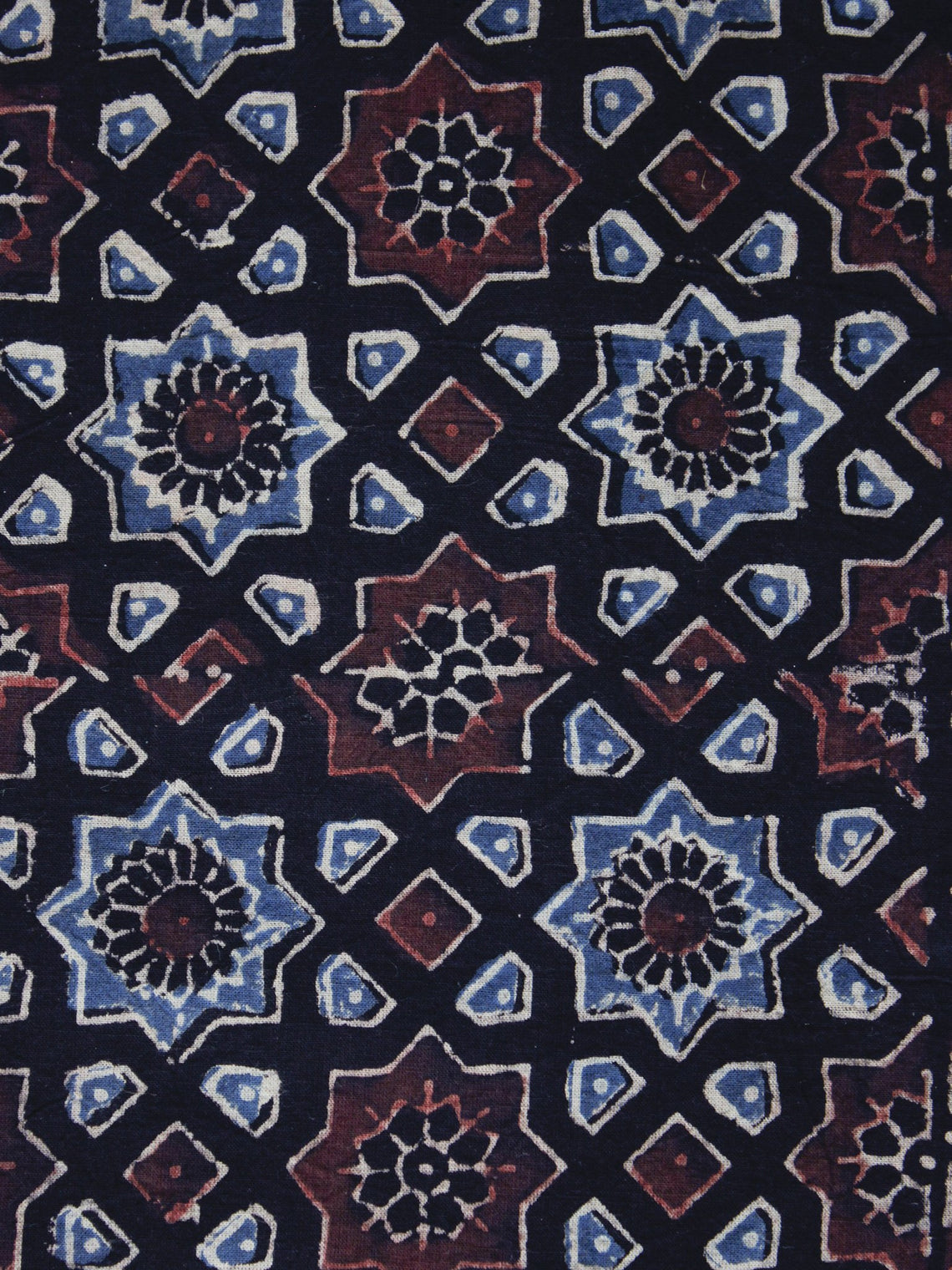 Black Brown Blue Ajrakh Printed Cotton Fabric Per Meter - F003F1193