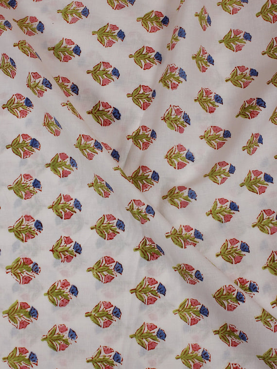 White Multi Color Hand Block Printed Cotton Cambric Fabric Per Meter - F0916135