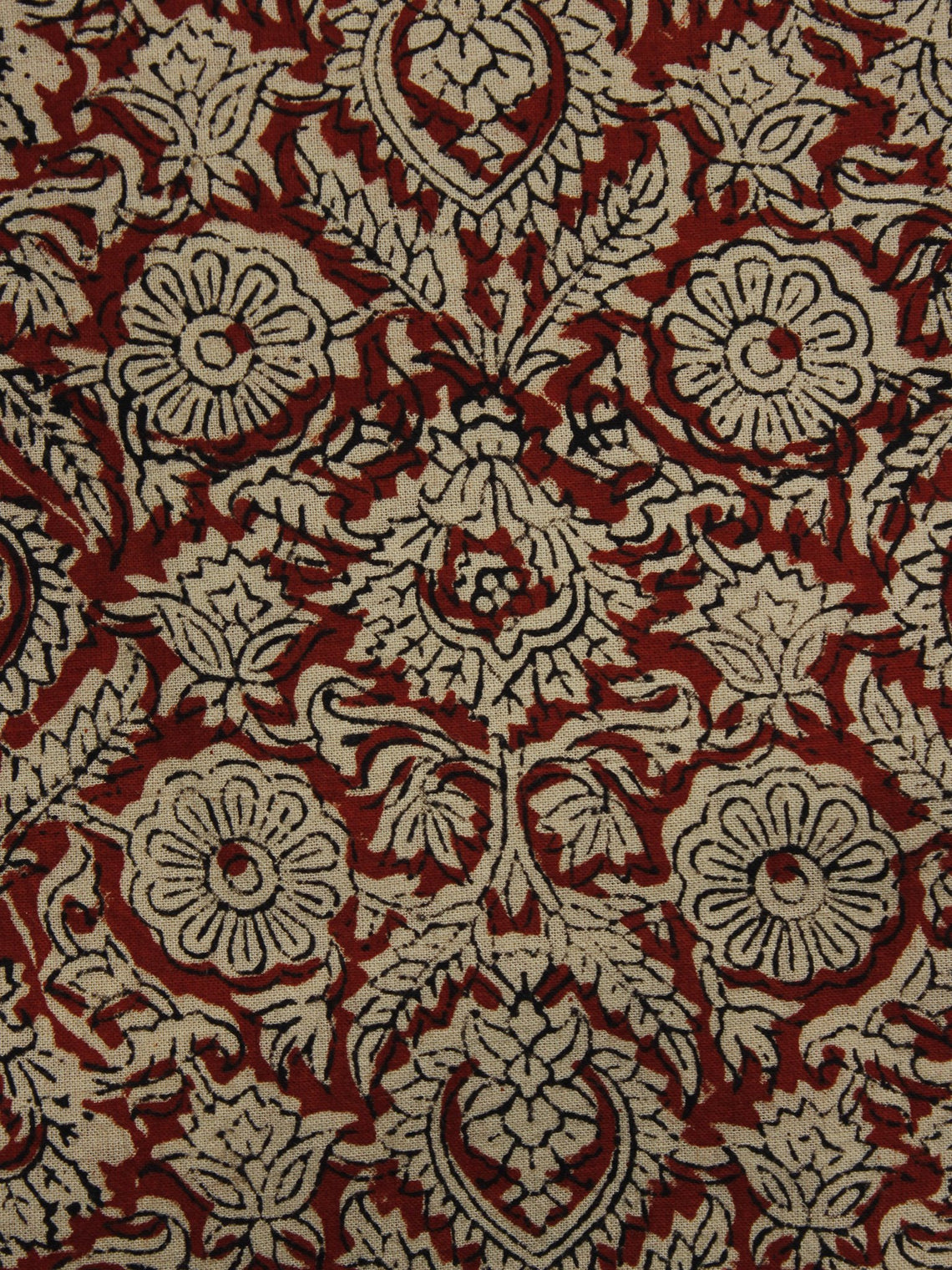 Beige Maroon Black Hand Block Printed Cotton Fabric Per Meter - F001F1084