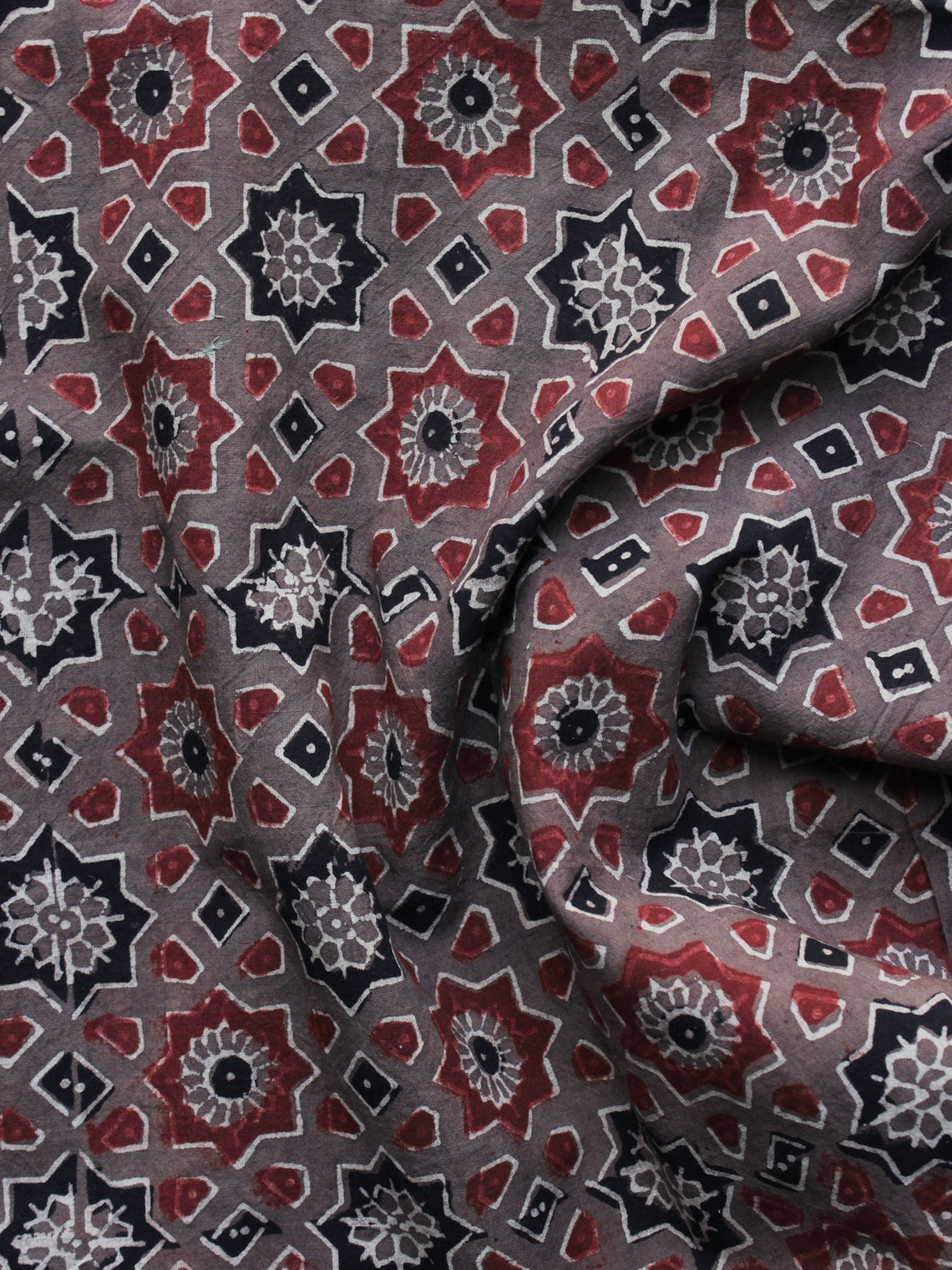 Brown Red Black Ajrakh Printed Cotton Fabric Per Meter - F003F1194