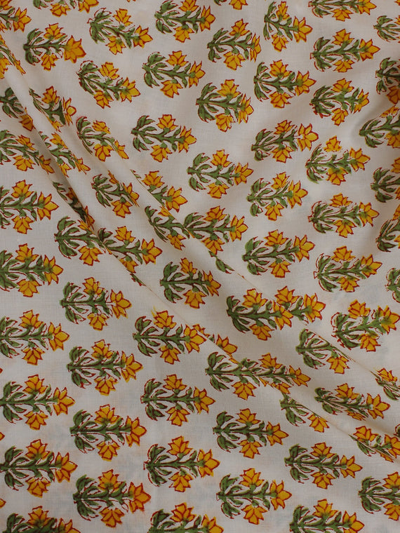 White Multi Color Hand Block Printed Cotton Cambric Fabric Per Meter - F0916134