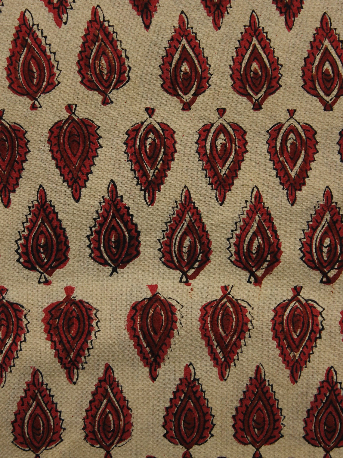 Beige Red Maroon Black Hand Block Printed Cotton Fabric Per Meter - F001F1085