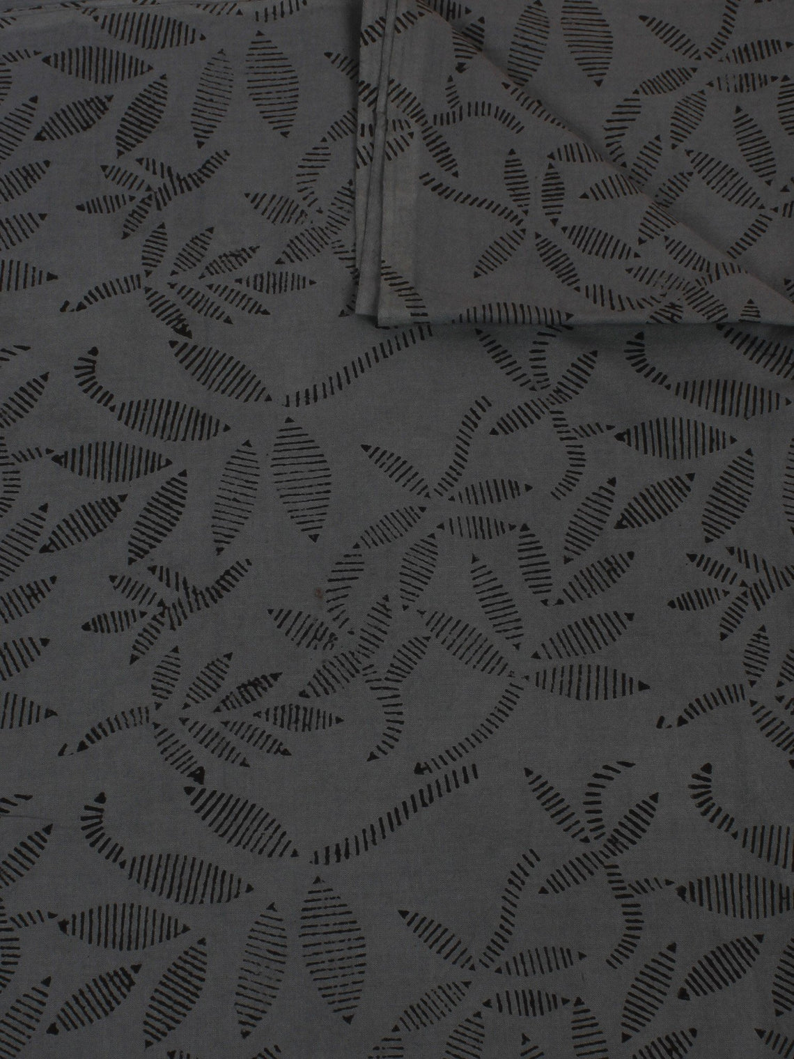 Grey Black Hand Block Printed Cotton Cambric Fabric Per Meter - F0916129