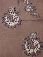 Brown Beige Blue Hand Block Printed Cotton Fabric Per Meter - F0916187