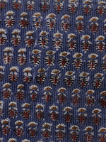Indigo Ivory Maroon Brown Kantha Embroidered Hand Block Printed Cotton Fabric - F001F564
