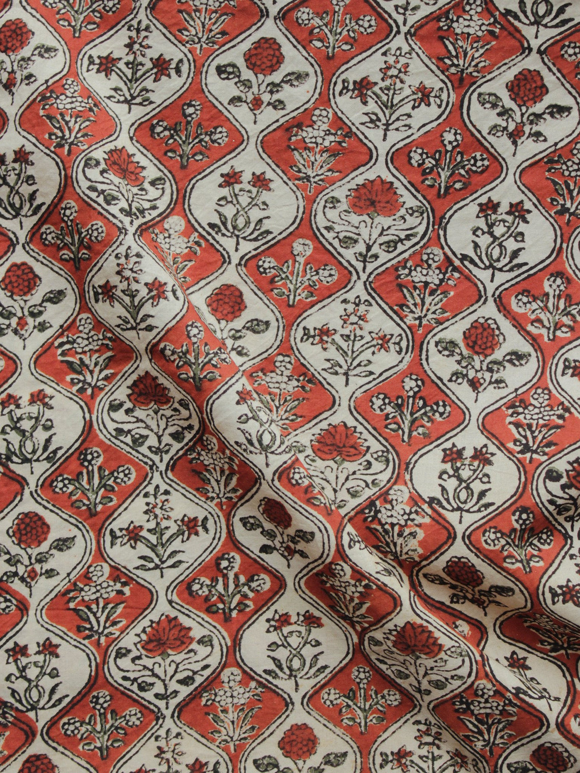 Maroon Green Beige Black Hand Block Printed Cotton Fabric Per Meter - F001F896