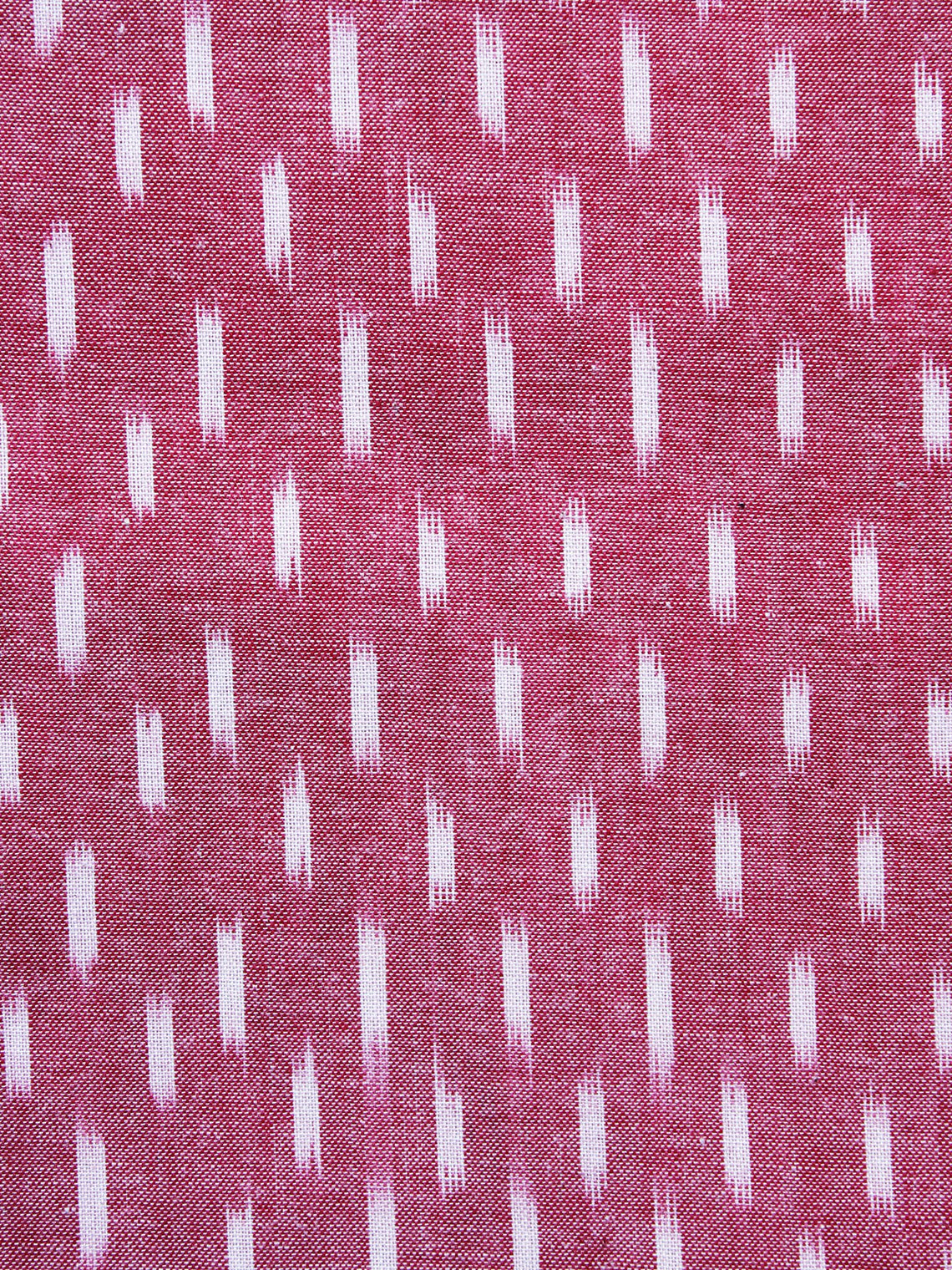 Pink White Pochampally Hand Weaved Ikat Fabric Per Meter - F003F1249