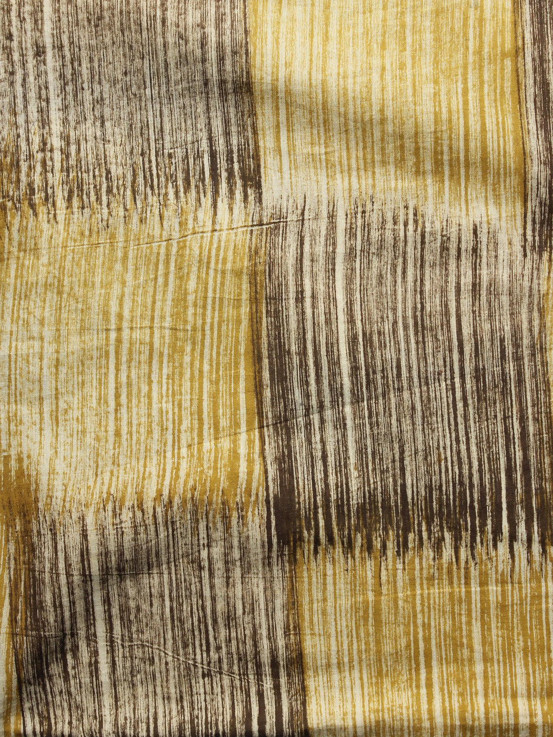 Mustard Beige Black Hand Painted Cotton Fabric Per Meter - F001F1088