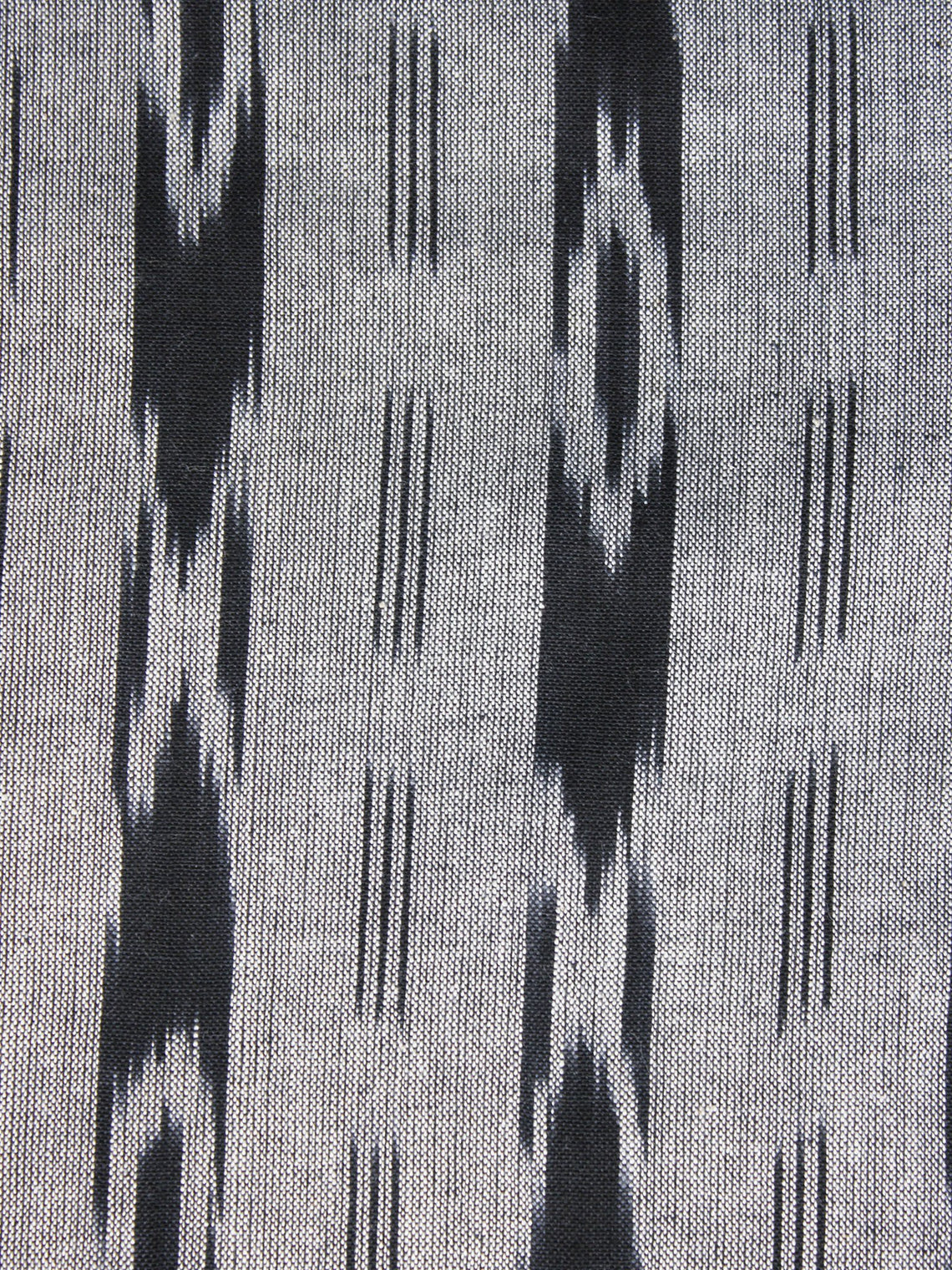Grey Black Pochampally Hand Weaved Ikat Fabric Per Meter - F003F1256