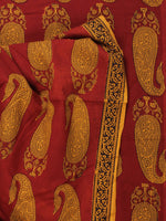 Rust Mustard Bagh Printed Cotton Fabric Per Meter - F005F2093