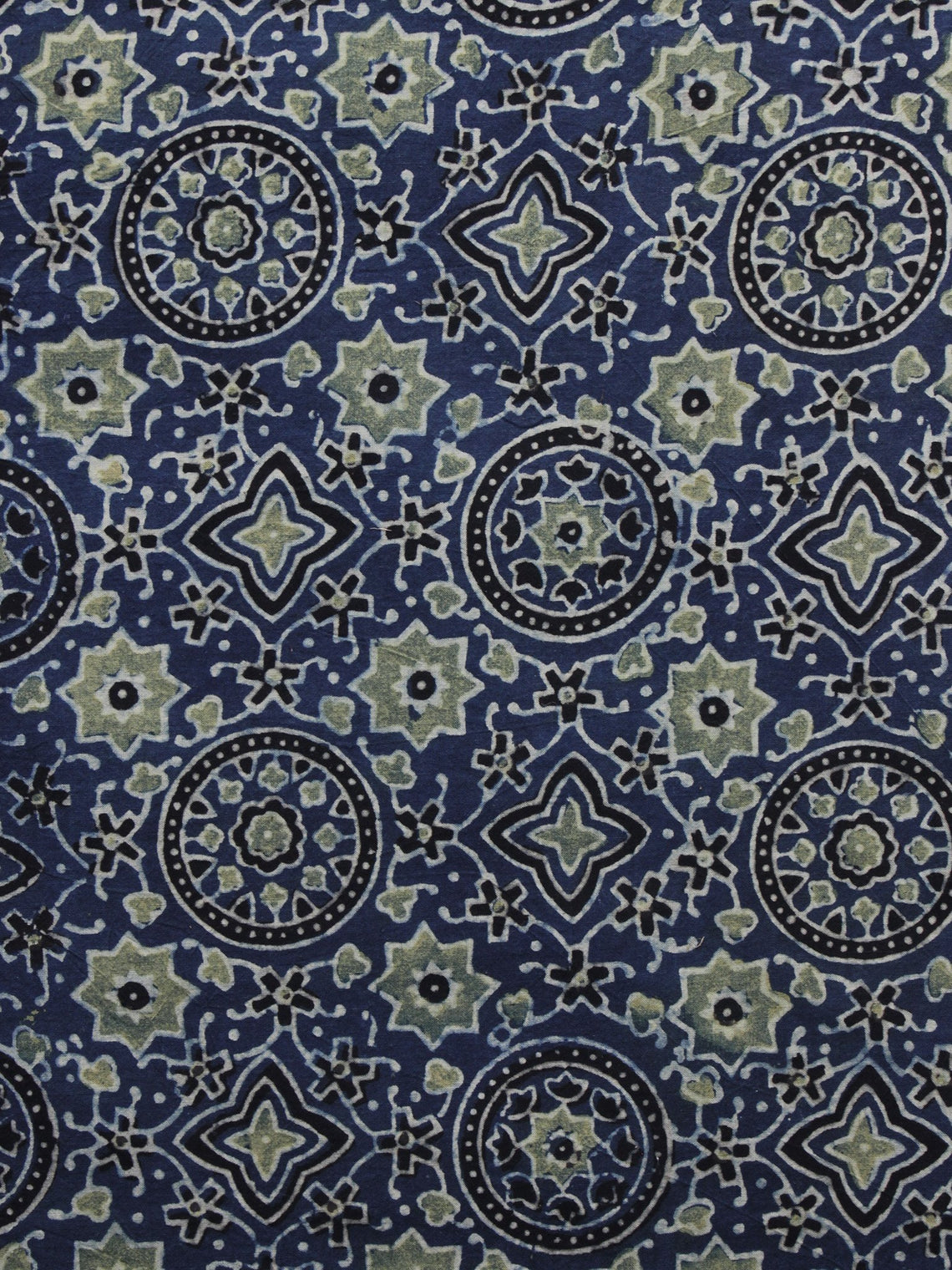 Blue Olive Green Black Ajrakh Printed Cotton Fabric Per Meter - F003F1199