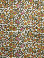 Beige Mustard Pink Green Hand Printed Cotton Fabric Per Meter - F001F1090