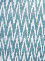 Teal Green White Pochampally Hand Weaved Ikat Fabric Per Meter - F003F1253