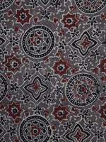 Brown Red Black Ajrakh Printed Cotton Fabric Per Meter - F003F1200