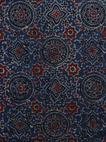 Indigo Red Black Ajrakh Printed Cotton Fabric Per Meter - F003F1158