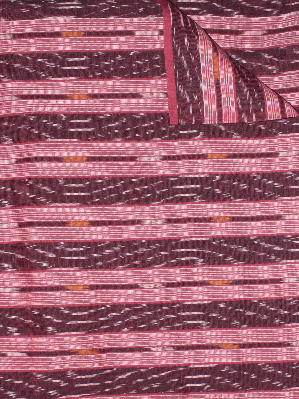 Maroon Pink Red Ivory  Pochampally Hand Weaved Ikat Fabric Per Meter - F0916756