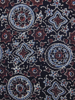 Black Maroon Blue Ajrakh Printed Cotton Fabric Per Meter - F003F1202