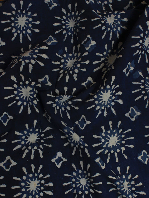 Indigo Hand Block Printed Cotton Cambric Fabric Per Meter - F0916026