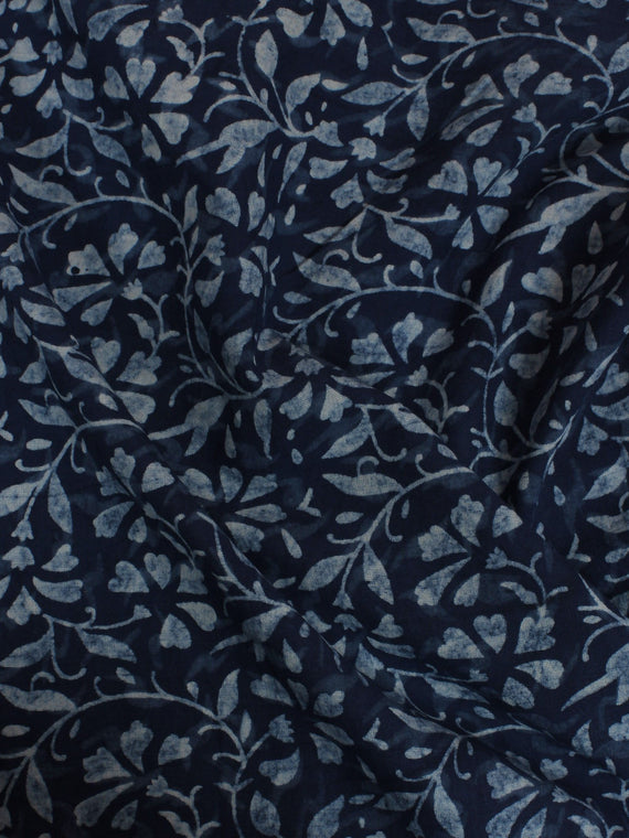 Indigo Hand Block Printed Cotton Cambric Fabric Per Meter - F0916207
