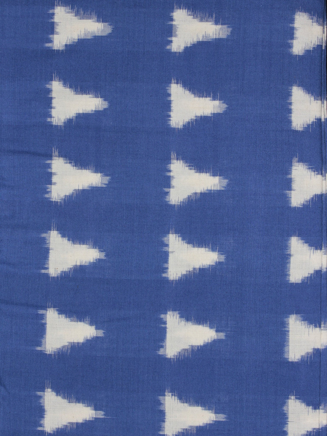 Cobalt Blue Ivory Pochampally Hand Weaved Double Ikat Traingular Fabric Per Meter - F0916757
