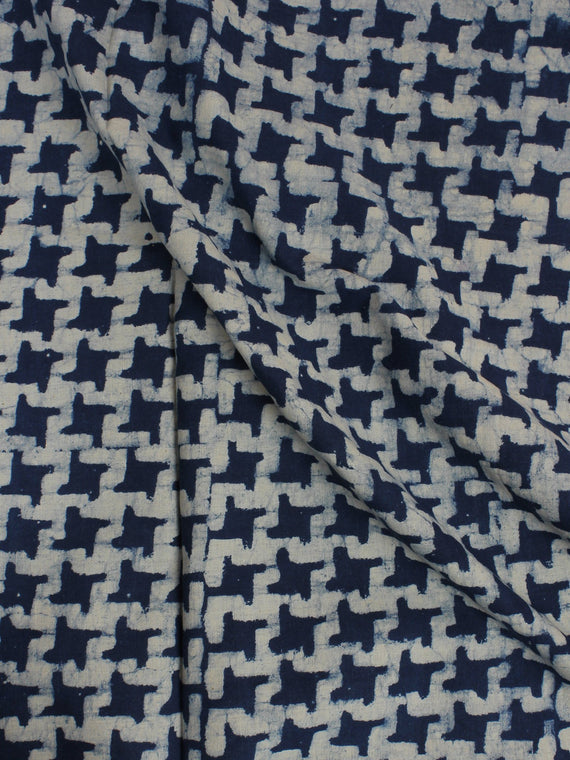 Indigo White Hand Block Printed Cotton Cambric Fabric Per Meter - F0916009