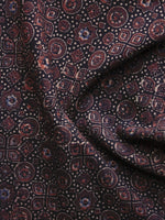 Black Brown Blue Ajrakh Printed Cotton Fabric Per Meter - F003F1203