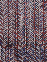 Ivory Red Blue Hand Block Printed Cotton Fabric Per Meter - F001F1148