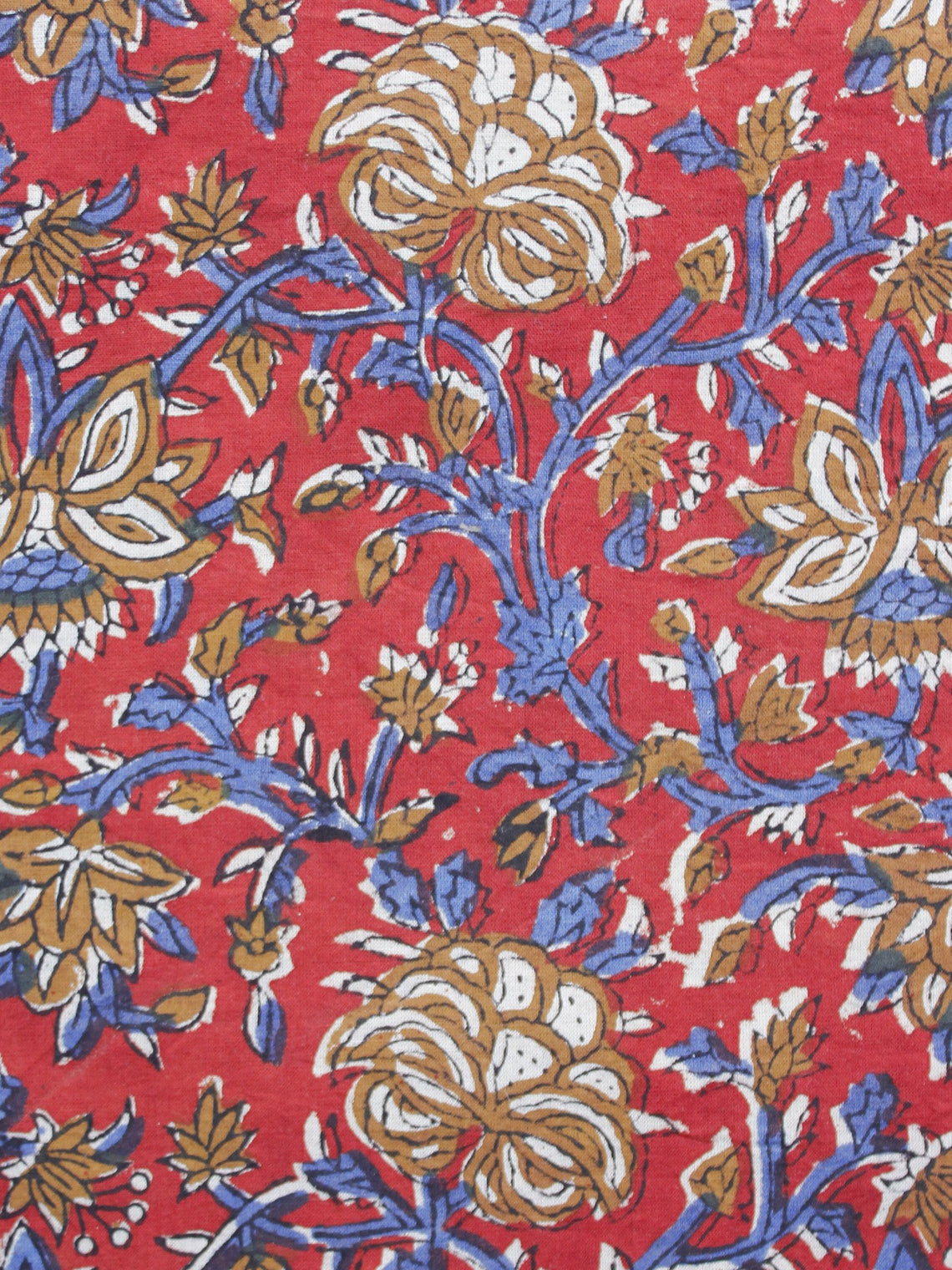 Red Blue Peanut Brown Hand Block Printed Cotton Fabric Per Meter - F003F1218