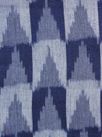 Blue White Grey Pochampally Hand Woven Ikat Fabric Per Meter - F002F1053