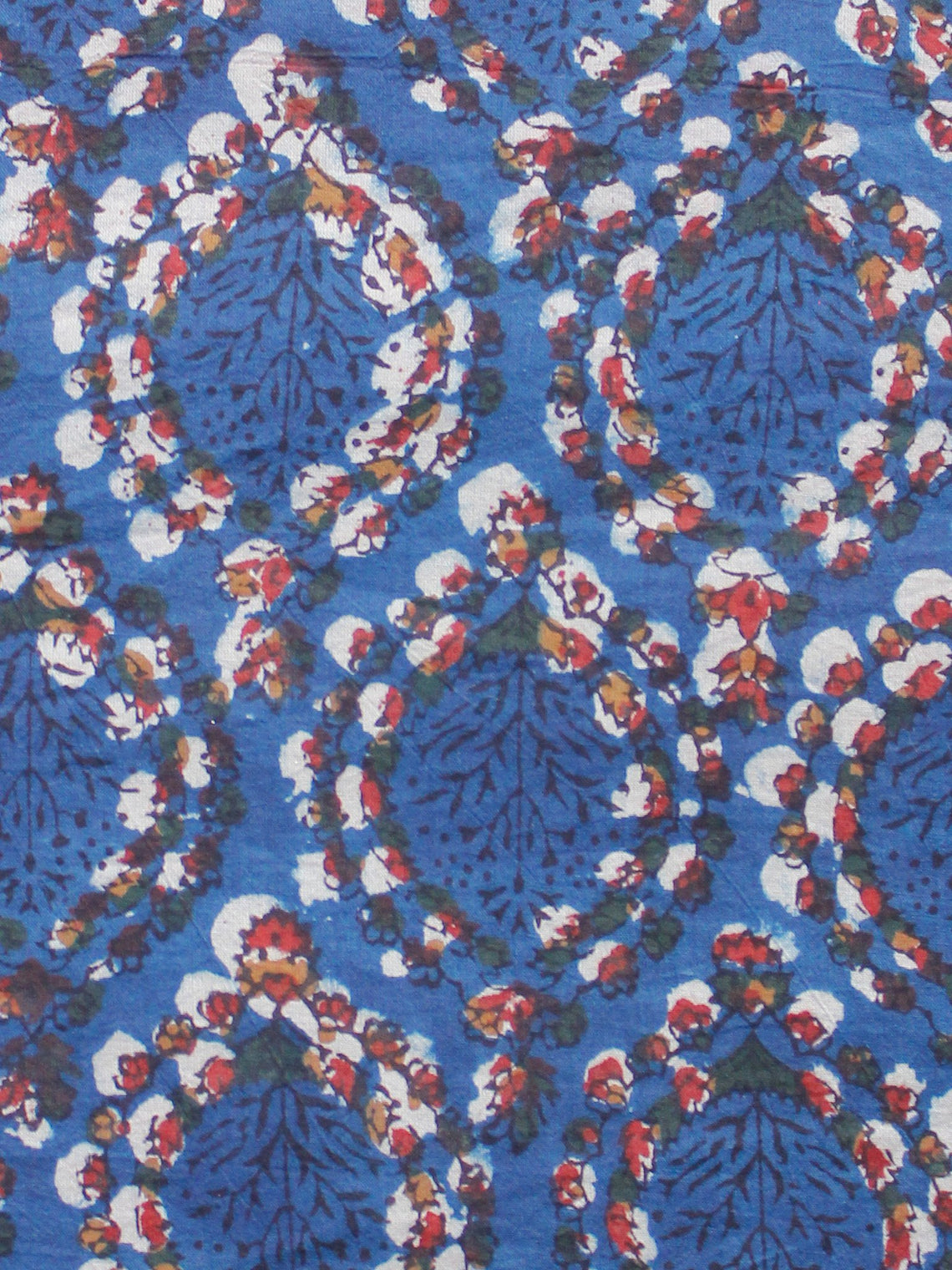 Indigo Ivory Red Green Hand Block Printed Cotton Fabric Per Meter - F001F1728