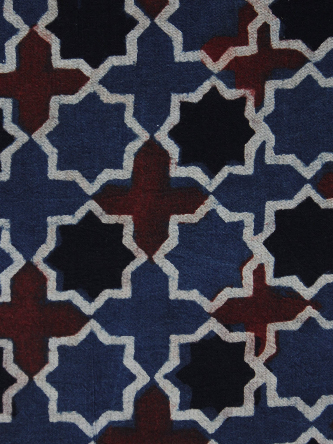 Maroon Black Blue Ajrakh Printed Cotton Fabric Per Meter - F003F1161