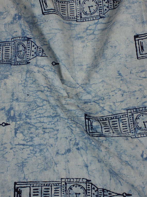 Indigo Hand Block Printed Cotton Cambric Fabric Per Meter - F0916111