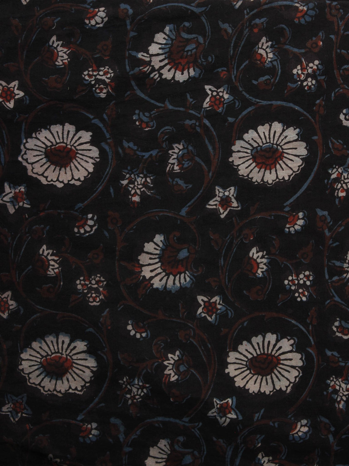 Black Brown Ivory Hand Block Printed Cotton Fabric Per Meter - F001F1096