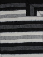 Black White Grey Pochampally Hand Weaved Double Ikat Full Striped Fabric Per Meter - F0916760