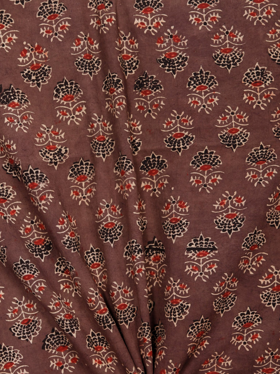 Brown Black Maroon Beige Ajrakh Hand Block Printed Cotton Fabric Per Meter - F003F1784
