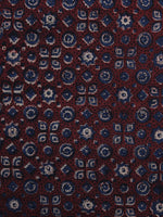 Red Blue Ajrakh Printed Cotton Fabric Per Meter - F003F1208