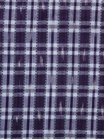 Purple White Pochampally Hand Weaved Ikat Check Fabric Per Meter - F003F1261